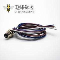 M8防水插头4芯公头板端插座直式后锁板焊线0.2M圆形连接器