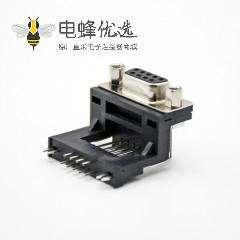 9Pin D-sub母座标准型弯式黑胶穿孔接PCB板