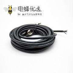 M12连接器5针弯公头A扣注塑线5米连接器通讯设备插头配件