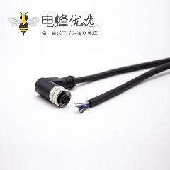 M12连接器5孔电缆A编码5芯母头90度弯注塑线不带屏蔽单边线2M