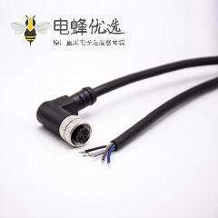 M12电缆A扣弯公头5针带注塑线5米连接器通讯设备插头配件
