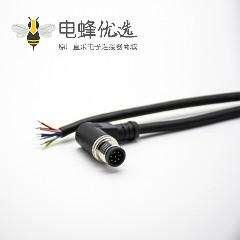 M12标准电缆A编码8芯母头弯式180度注塑线2米不带屏蔽