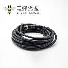 M12标准电缆8芯A编码公头90度弯注塑线不带屏蔽单边线5M