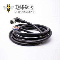 M12连接器8芯A型母弯头不带屏蔽注塑线2M