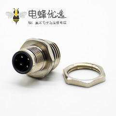 M12 4芯航空头后锁板防水直式A扣板端插座公头焊接式接PCB板