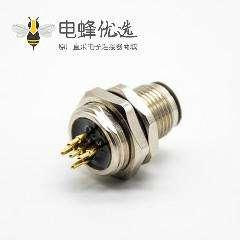 传感器公头插座A扣180°PCB板安装后锁板5芯M12防水连接器