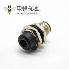 插座8芯后锁板A扣直式公头接PCB板防水M12传感器连接器