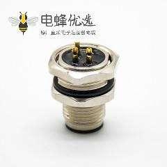 M12传感器连接器A扣180°接线后锁板防水3芯公插座