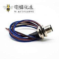 M12 A型编码连接器3芯直式公插座后锁板防水板端焊线0.5M