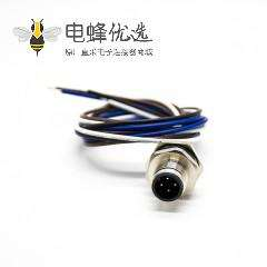 M12公头4针板端插座A扣直式板端焊线0.2M后锁板防水连接器