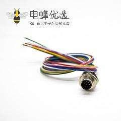 防水连接器M12板端焊线0.2M后锁板A扣8芯直式公插座
