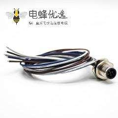 M12连接器5针公插座A扣防水后锁板直式板端焊线0.2M