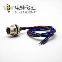M12连接器母头A扣3芯板端焊线0.2M直式后锁板防水插座