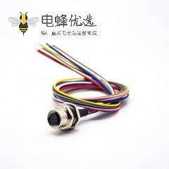M12板端连接器A编码8芯直式焊线0.2M后锁板防水母插座