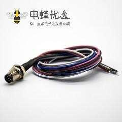 M8焊线后锁插座6芯A编码公头直式防水板端插座接线0.2M