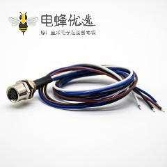M8焊线连接器母头直式4芯后锁板防水板端插座带线0.2米