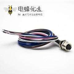 M8防水插座连接器6芯母头直式防水后锁板焊线0.2米