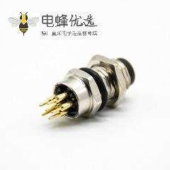 M8连接器直头接PCB板6芯焊接式防水公头前锁板A扣