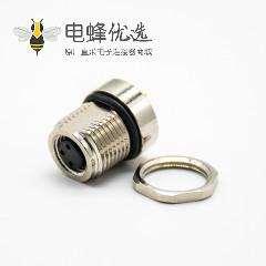 传感器M8连接器180°母头3芯接PCB板前锁板防水焊接式板端插座