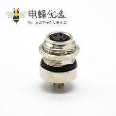 M8连接器母头接PCB板直式4芯前锁板焊接式防水板端插座