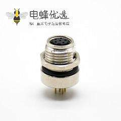 M8防水插座连接器A编码180°6芯母头前锁板接PCB板