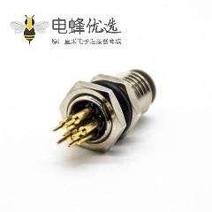 6芯插板M8直式A扣公头防水后锁板插孔圆形航空连接器
