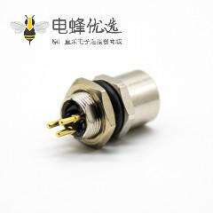 M8 3芯圆头插座180°母头PCB板安装后锁板防水连接器