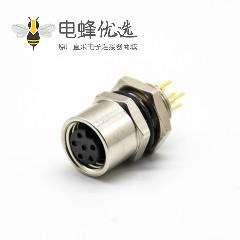 M8传感器插头防水A扣6芯直式后锁板母头插孔接PCB板安装