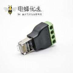RJ45转端子直式8芯RJ45公插头转4芯接线端子