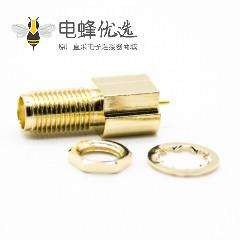 SMA射频连接器直式标准母头贴片式镀金面板安装