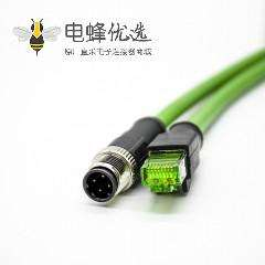 M12传感器接头4芯公头D扣转RJ45公头直式单边线3米