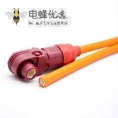 储能连接器IP67塑料红色8mm单芯120A接线弯式插头25平方线长30CM
