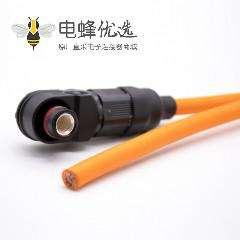 单芯防水连接器120A弯式插头8mm塑料IP67黑色压25平方接线30cm