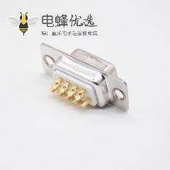 D Sub9母头2排车针型直式焊杯白色胶芯
