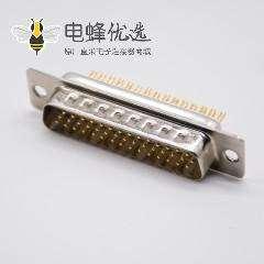 44Pin DB头车针型3排焊杯式公头180度D型连接器