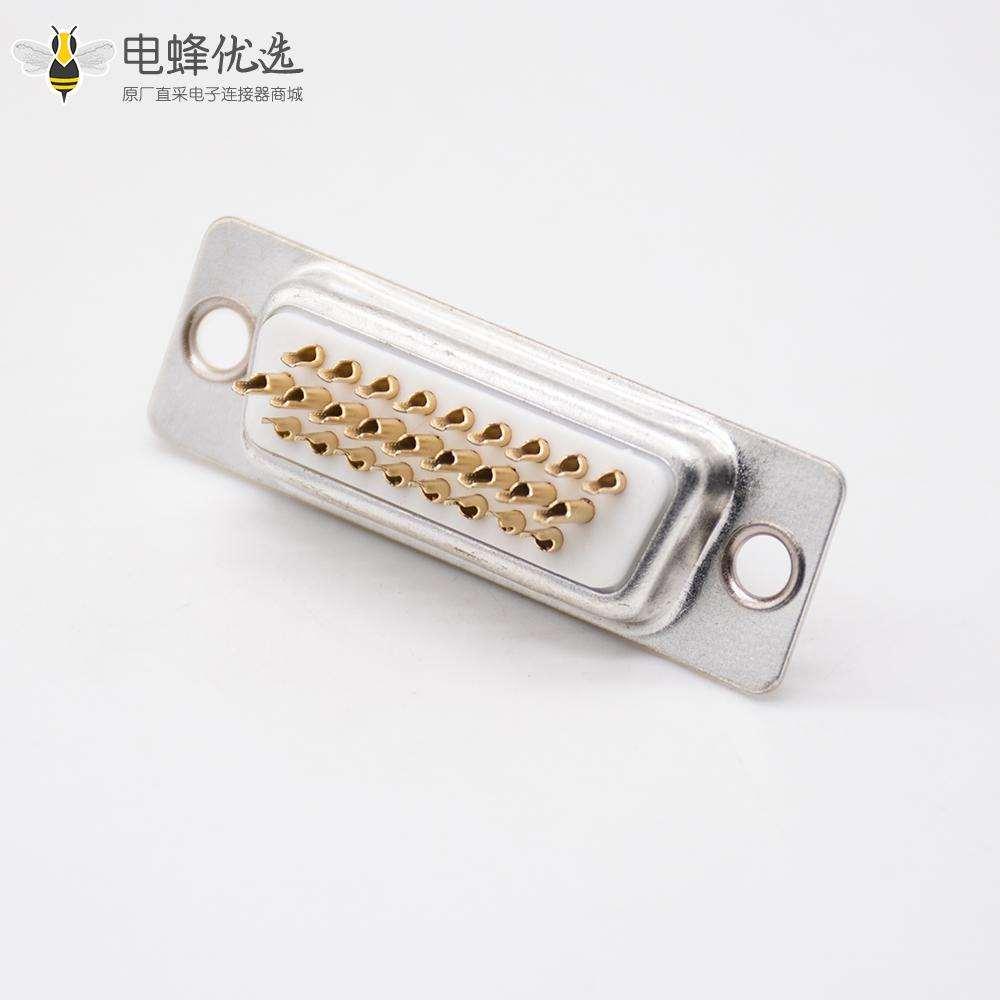 DB26三排直式白色胶芯母头冲针焊杯D Sub连接器
