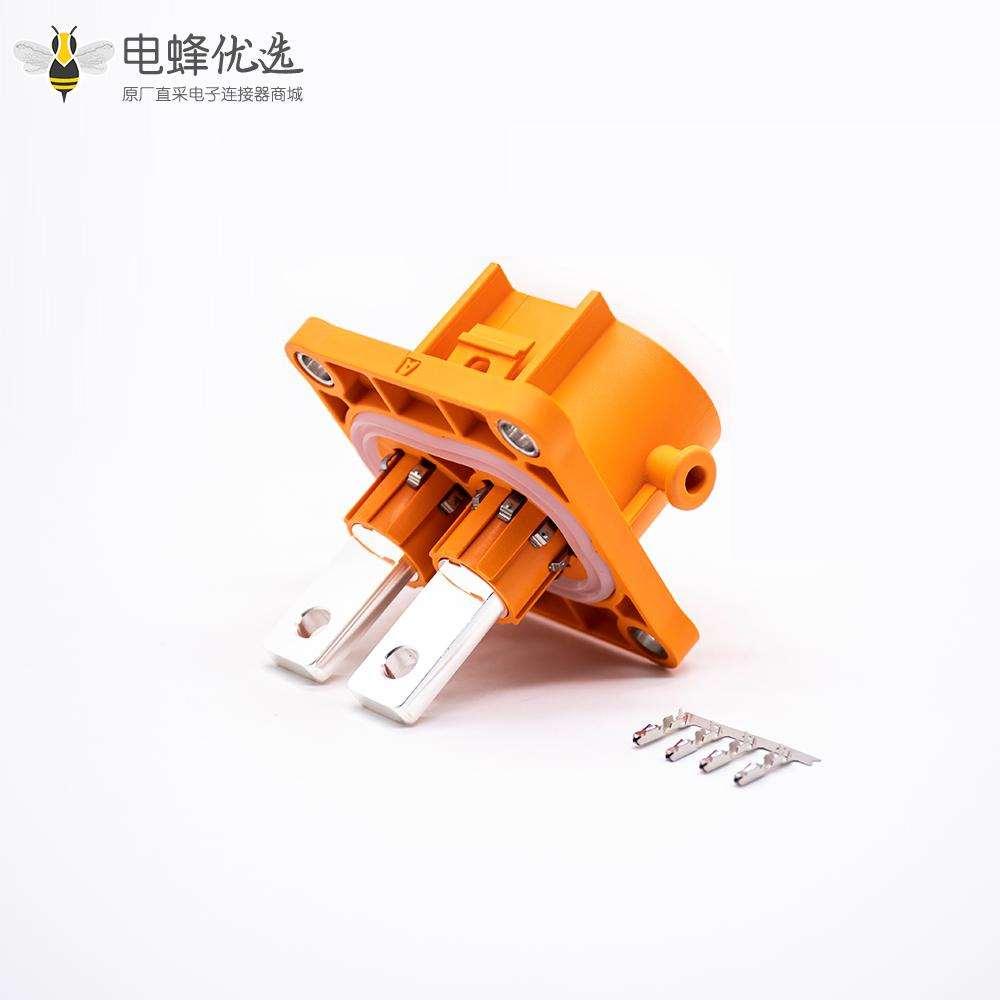 高压大电流连接器200A带铜排直式2芯高压互锁插座