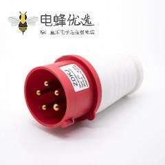 三相工业防水插头3P+E+N 16A 380V-415V IP44防水5芯公头