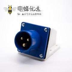 工业防水明装插座3芯蓝色公头16A 220V-240V IP44单相2P+E