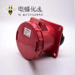 5芯防水工业插头插座3P+E+N暗装直座63A母头380V-415V IP67