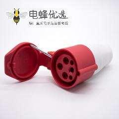 工业圆插座连接器4芯母头16A 380V-415V 3P+E IP44防水移动插座