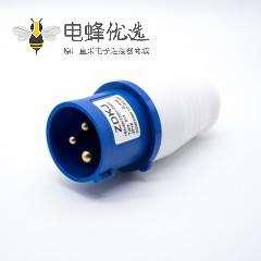 防水工业插头三芯16A公头220V-240V IP44防水2P+E蓝色插头