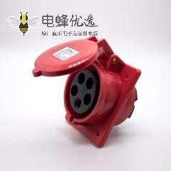 工业防水暗装插座3P+N+E三相斜座5芯IP44防水32A 380V-415V