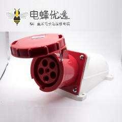五孔插座明装红色母头IP67防水63A 380V-415V 3P+E+N