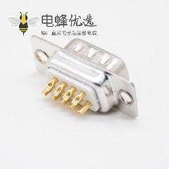 DB连接器9Pin标准型2排9芯公头冲针直式焊杯式