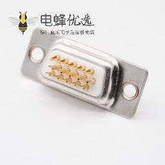 3排DB15母头焊杯180度白色胶芯冲针标准型D型连接器