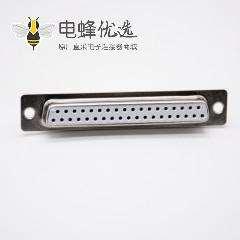 37针D-sub孔型插座直式母头冲针焊杯式白色胶芯