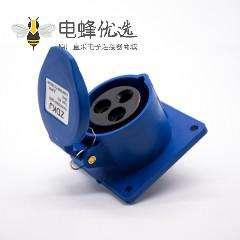 单相工业连接器 16A暗装直座3芯母头IP44 2P+E 220V-240V