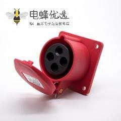 16A工业连接器4芯母头IP44暗装直座380V-415V 3P+E