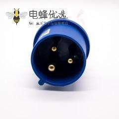 三芯工业插头2P+E单相公头32A 220V-240V IP44防水